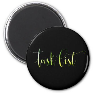 Task List Green Black Week Planner Home Office 6 Cm Round Magnet