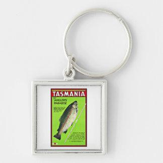 Tasmania Australia Anglers Paradise Fishing Silver-Colored Square Keychain