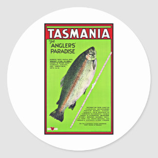 Tasmania Australia Anglers Paradise Fishing Round Sticker