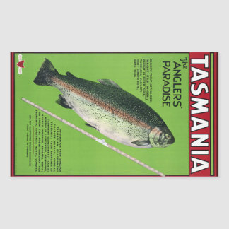 Tasmania ~ The Angler's Paradise Rectangular Sticker