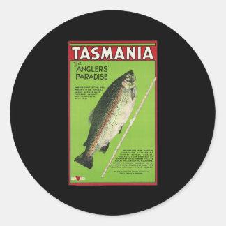 Tasmania The anglers' paradise Round Stickers