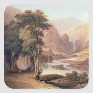 Tasmanian Gorge (w/c) Square Sticker