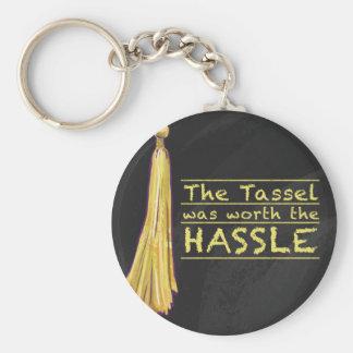 Tassel Hassle Gold Basic Round Button Key Ring