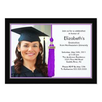 Tassel Photo Graduation Invitation Black & Purple