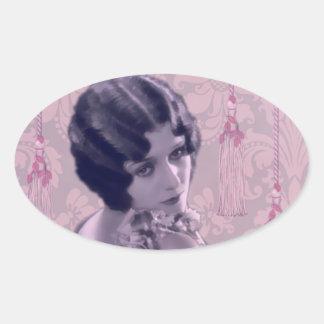 Tassels & Damask Vintage Photo - Amani Oval Sticker