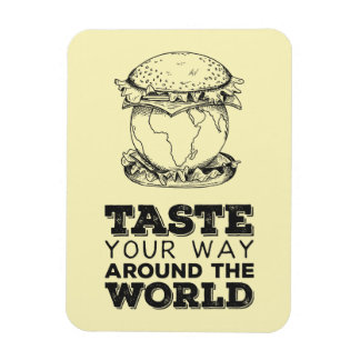 Taste your way around the world rectangular photo magnet