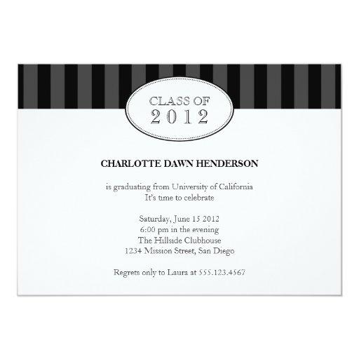 Tasteful black stripe graduation class invitation