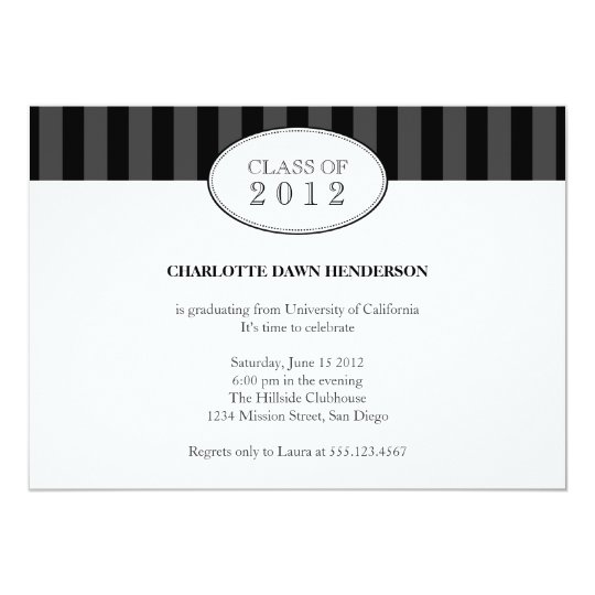 Tasteful black stripe graduation class invitation