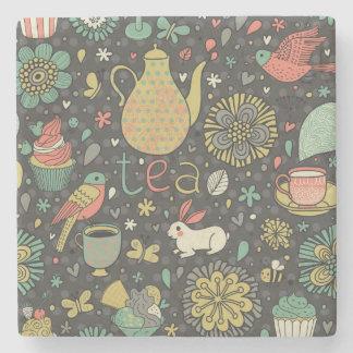 Tasty bright Tea Card Stone Beverage Coaster