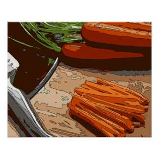 Tasty Carrots, Onions and Celery Chopped Up Posters