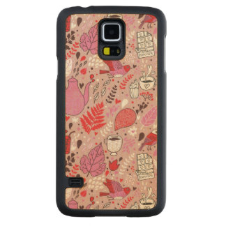Tasty pattern with birds and flowers carved maple galaxy s5 case