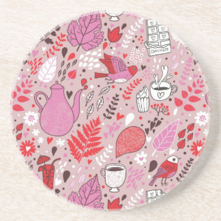 Tasty pattern with birds and flowers drink coaster