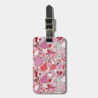 Tasty pattern with birds and flowers luggage tag