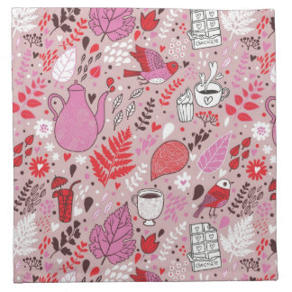 Tasty pattern with birds and flowers napkin