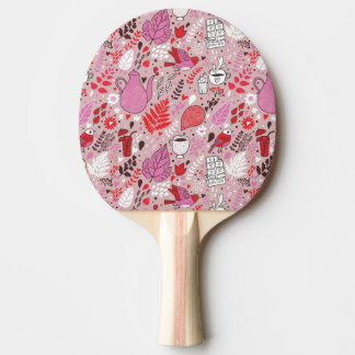 Tasty pattern with birds and flowers ping pong paddle