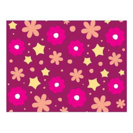 Tasty Pink & Purple Floral Pattern Postcards