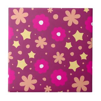 Tasty Pink Purple Floral Pattern Ceramic Tiles