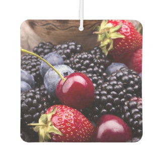 Tasty Summer Fruits On A Wooden Table Car Air Freshener