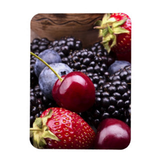 Tasty Summer Fruits On A Wooden Table Rectangular Photo Magnet