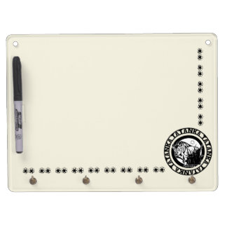 Tatanka (Buffalo) Black & Lite Yellow Dry Erase Board With Key Ring Holder
