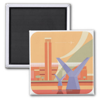 Tate Gallery and Millennium Bridge Square Magnet