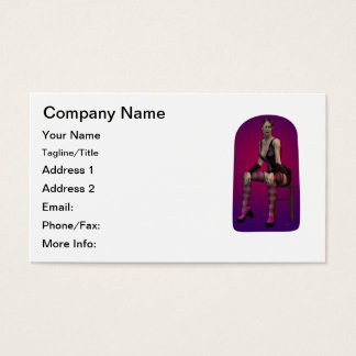 Tatiana Smoking Goth Punk Vampire 3D Pinup Babe Business Card