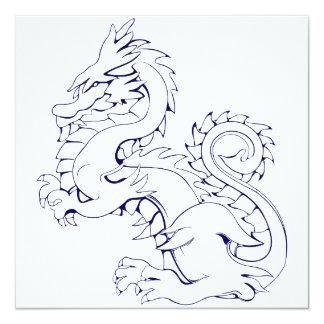"Tatsu Asian Dragon Are Fantasy Mythical Creatures 5.25"" Square Invitation Card"