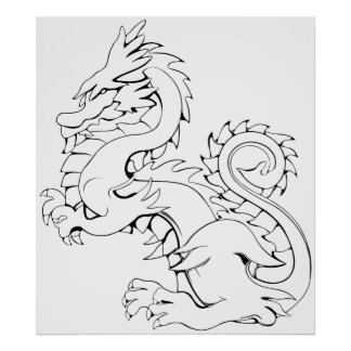 Tatsu Asian Dragon Are Fantasy Mythical Creatures Poster