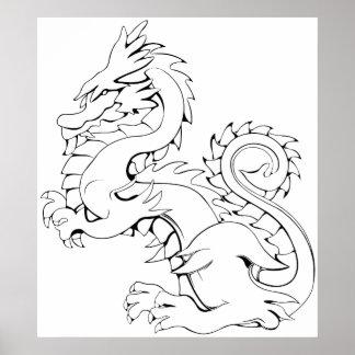 Tatsu Asian Dragon Are Fantasy Mythical Creatures Poster