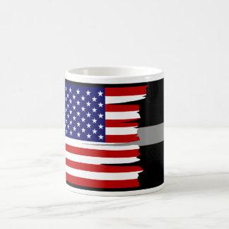 Tattered American Flag Thin Silver Line Mug