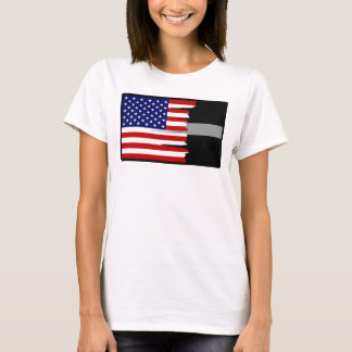 Tattered American Flag Thin Silver Line T-Shirt