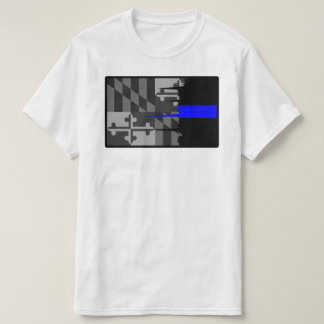 Tattered Maryland Flag Thin Blue Line T-Shirt