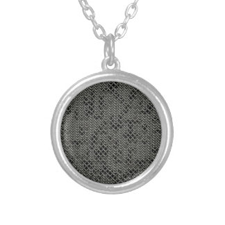 Tattered Silver Medieval Chainmail Armour Texture Round Pendant Necklace