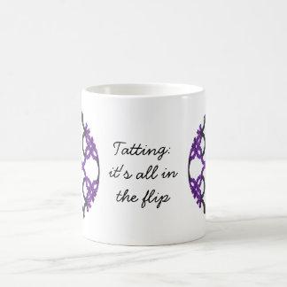 Tatting: It's All In The Flip Black and Purple Basic White Mug