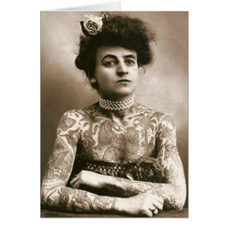Tattoed With Pearls, Victorian Circus Photo Card