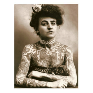 Tattoed With Pearls Victorian Circus Photo Postcard