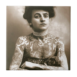 Tattoed With Pearls, Victorian Circus Photo Small Square Tile