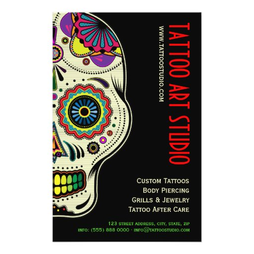 Tattoo art shop flyer zazzle for Tattoo shops hiring front desk