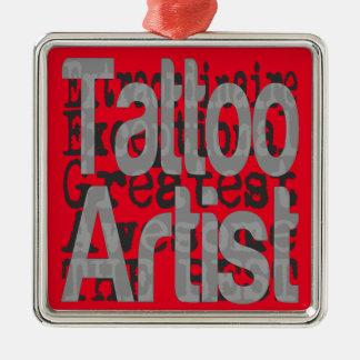 Tattoo Artist Extraordinaire Silver-Colored Square Decoration