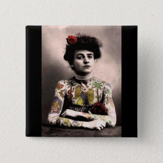 Tattoo Artist Woman Vintage Photograph Button
