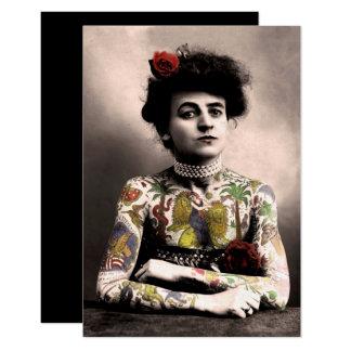 Tattoo Artist Woman Vintage Photograph Invitation