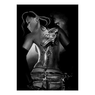 Tattoo black and white poster