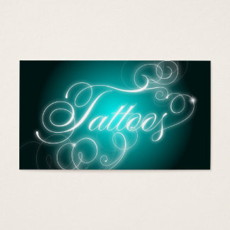 Tattoo Business Card Elegant Flourish Glow