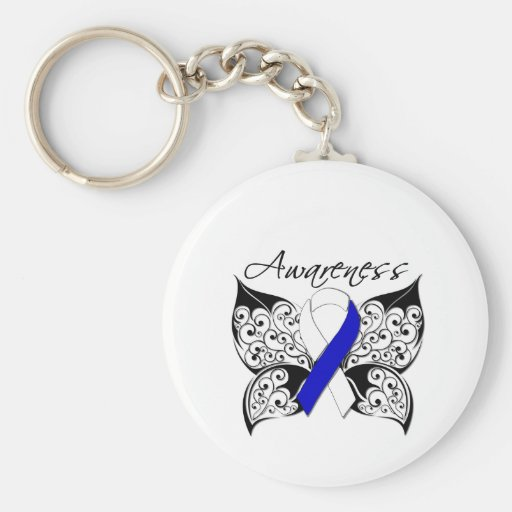 Tattoo Butterfly Awareness - ALS Disease Basic Round Button Key Ring