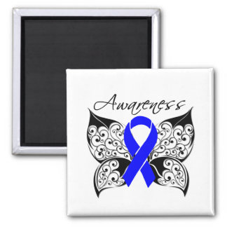 Tattoo Butterfly Awareness - Anal Cancer Square Magnet