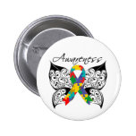 Tattoo Butterfly Awareness - Autism Pinback Buttons