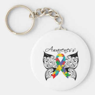 Tattoo Butterfly Awareness - Autism Basic Round Button Key Ring