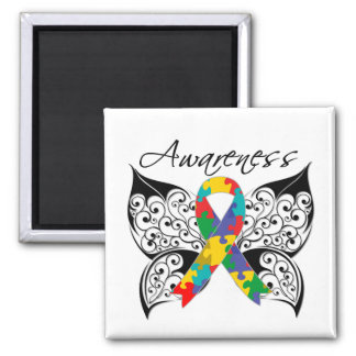 Tattoo Butterfly Awareness - Autism Square Magnet