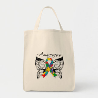 Tattoo Butterfly Awareness - Autism Tote Bags