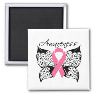 Tattoo Butterfly Awareness - Breast Cancer Square Magnet